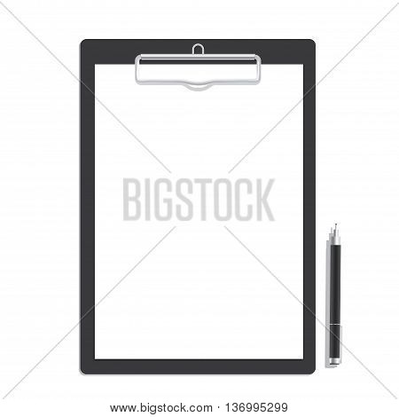 Blank Paper On A Clipboard And Black Pen Mock Up Vector. Mock Up Concept.