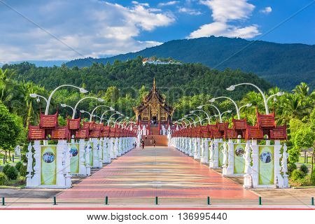 CHIANG MAI, THAILAND - OCTOBER 15, 2015: Walkway to the Pavilion of Royal Flora Ratchaphruek Park.