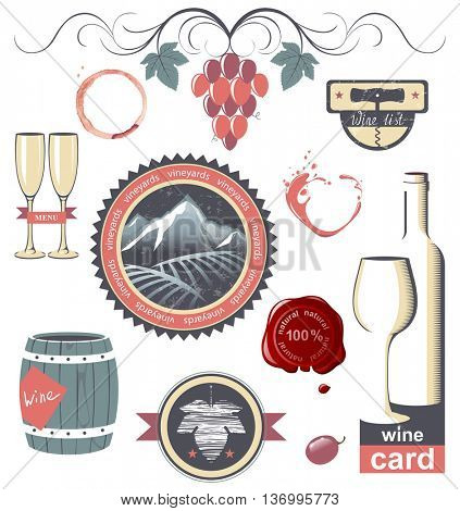 Stylized wine emblems for your designs