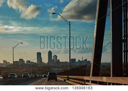 Jacksonville skyline from bridge in florida USA coming from Atlantic Beach