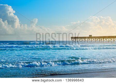 Daytona Beach in Florida shore with pier USA