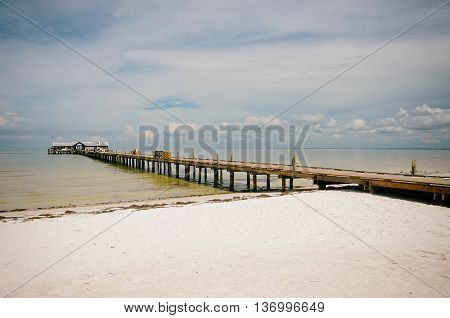 Historic Anna Maria City Fishing Pier on Anna Maria Island Forida