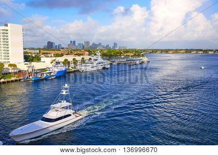 Fort Lauderdale Stranahan river at A1A in Florida USA