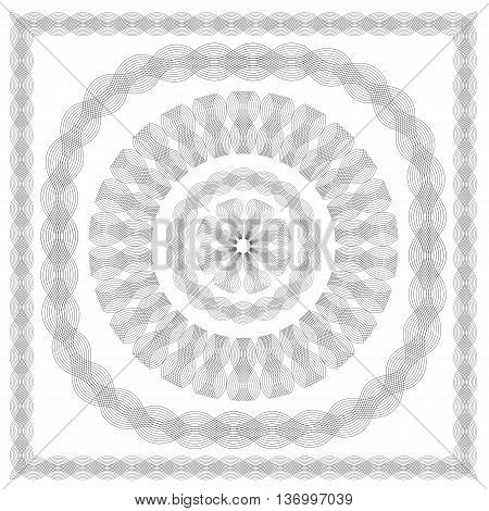 Wave Frames Isolated on White Background. Set of Guilloche Elements