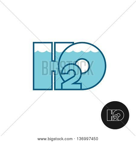 H2O letters water logo icon. Water line surface with waves. Aquarium theme apply.