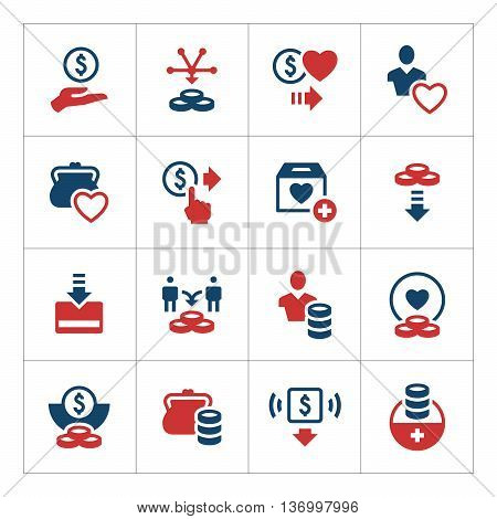 Set color icons of charity and donate isolated on white. Vector illustration