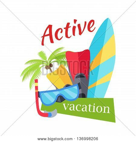 Summer active vacation concept banner. Flat design vector illustration. Set of things for active rest on seacost. Diving mask, fins, surfboard, palm tree on white background.