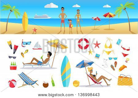 Big set summer vacation items in flat design. Leisure with family on tropical sunny beach with palm trees vector illustration. Variety of things for entertainment on beach and water in flat design.