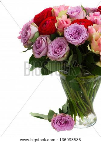 bouquet of rose and ranunculus flowers in vase close up isolated on white background