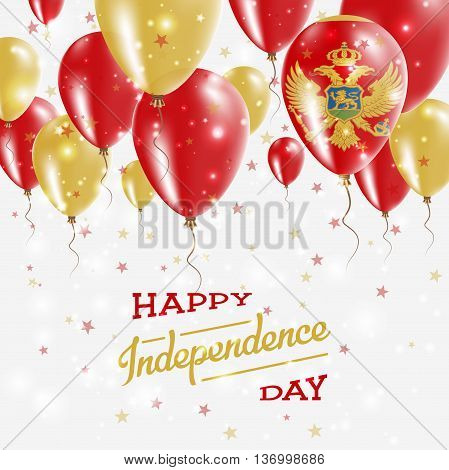 Montenegro Vector Patriotic Poster. Independence Day Placard With Bright Colorful Balloons Of Countr