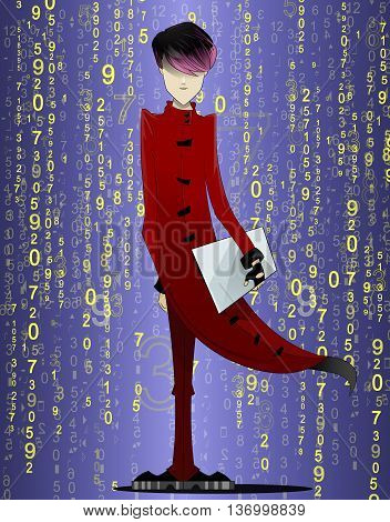 Programmer, coder, hacker, designer in long red coat and pink hair with laptop in hand on futuristic abstract background. Manga style. Vector illustration on white background