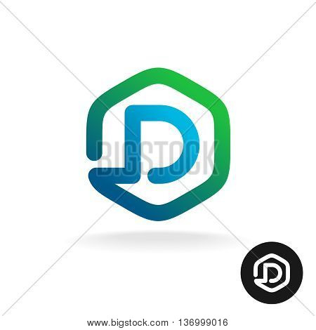 Letter D in a hex shape one line style logo template