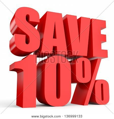 Discount 10 Percent Off. 3D Illustration On White Background.