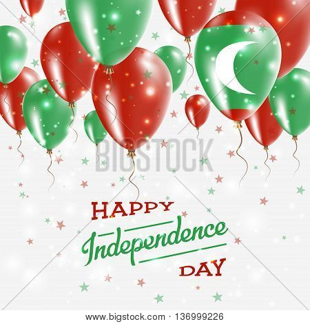 Maldives Vector Patriotic Poster. Independence Day Placard With Bright Colorful Balloons Of Country