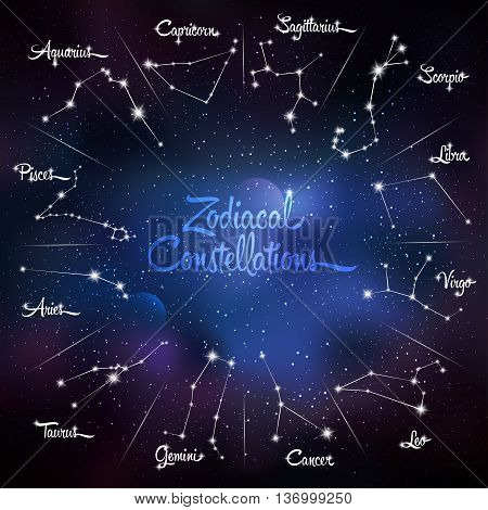 Zodiacal constellations Cancer, Pisces, Aquarius, Capricorn, Sagittarius, Scorpio, Libra, Virgo, Leo, Gemini, Taurus, Aries. Galaxy background with sparkling stars. Vector illustration