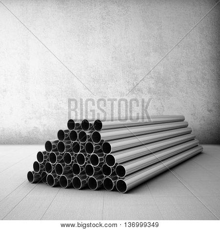 Stack of steel tubing in grunge room. 3D illustration.