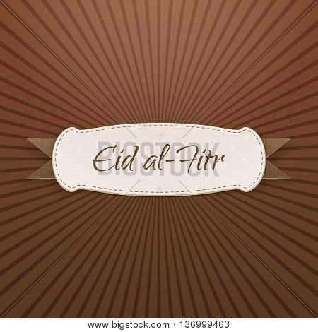 Eid al-Fitr realistic textile Tag with Text and Shadow. Vector Illustration