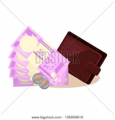 Indian currency vector concept. Rupees and coins vector. Leather wallet lying next to stacks of money with a portrait of Gandhi. Flat style design illustration. Isolated on white background.
