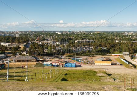 A view from a hill in a city Ventspils, Latvia