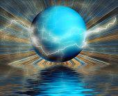 Surreal Globe Reflection With Lightning