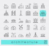 Постер, плакат: Buildings and architecture icons set Various styles and building purposes Buildings for living and