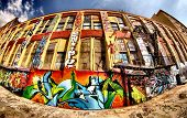 Fish Eye shot of a beautiful graffiti coloured building