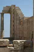 picture of akropolis  - stone rebuilding column in Akropolis Lindos Greece - JPG