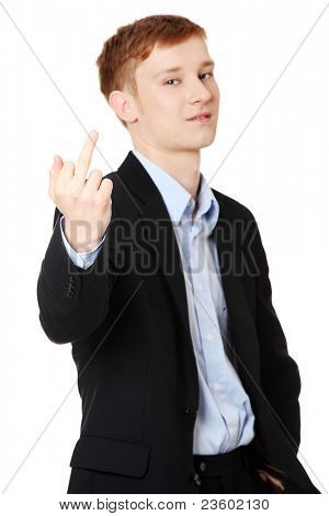 Businessman gesturing middle finger, isolated on white background