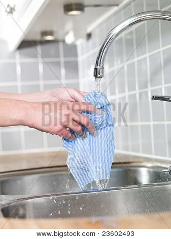 Hands Holding A Dish Cloth