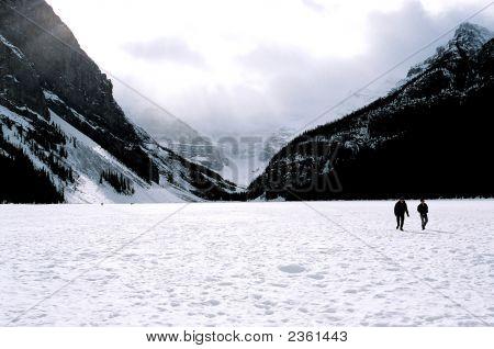 Lake Louise Frozen In Winter