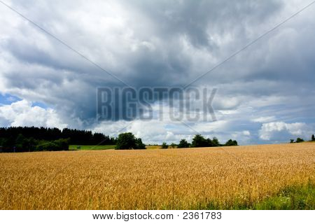 Stormy Weather Over A Rural Landscape