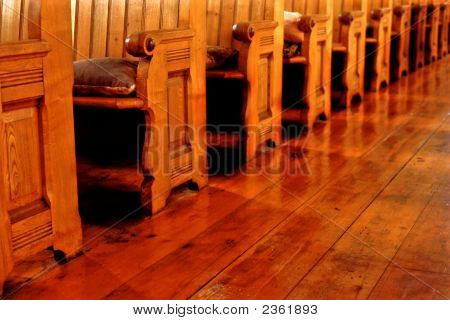 Empty Old Church Pews