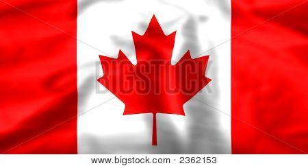 Silk Effect Maple Leaf Canadian Flag