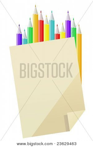 Blank paper and many-colored pencils isolated. Raster version.