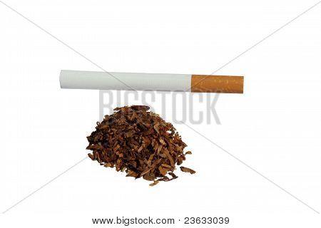 Cigarette and Tobacco over White Background