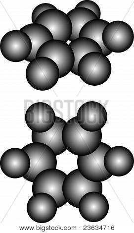 Molecule of benzene - model