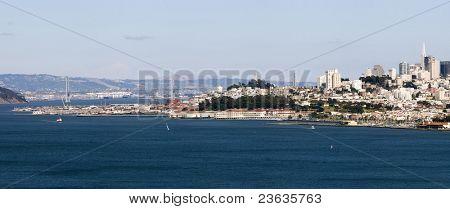 San Francisco Skyline Landmarks Panorama taken from the Golden Gate Bridge