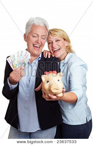 Happy Senior Women With Money