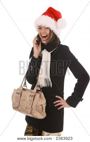 Christmas Girl With Cell Phone