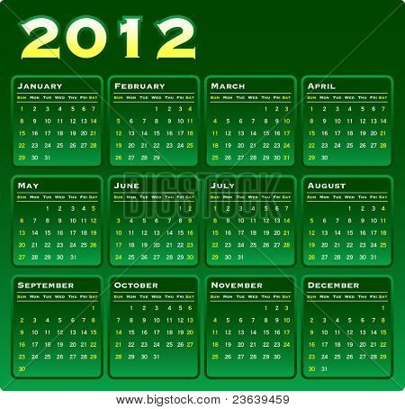 2012 Vector Monthly Calendar on Green Gradation.