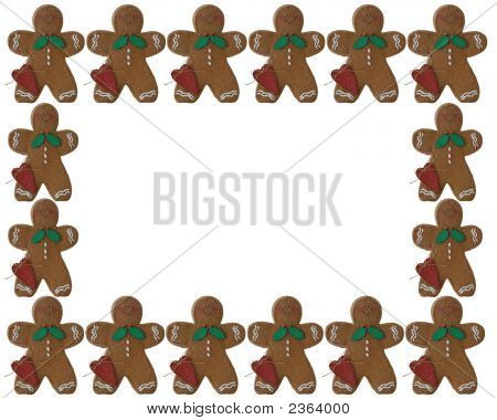 3D Christmas Gingerbread Man Frame Or Border