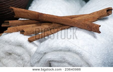 spa objecs towels on natural texture