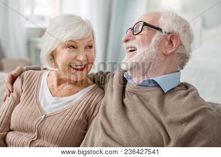 Elderly Couple Cheerful Elderly Man