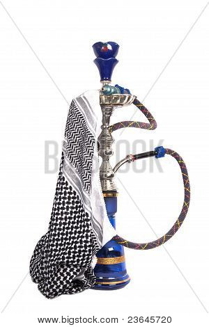 Blue And Silver Arabic Waterpipe With Arabic Kerchief Isolated On White