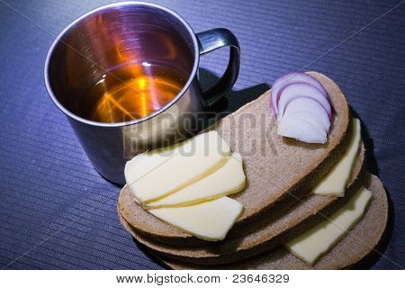 Steel Cup, Bread, Cheese And Onion