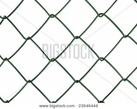 Green Chain-link Aka Wire Netting Fence Detail, Isolated On White Background
