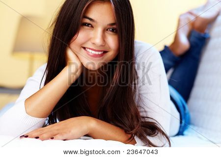 Image of pretty girl feeling comfortable at home