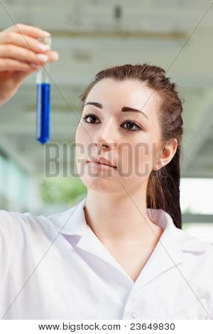 Portrait Of A Cute Student Looking At A Test Tube