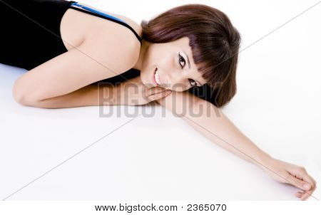 Pretty Brunette Woman Lying Down