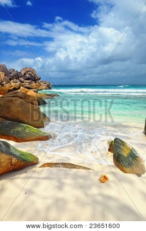 Granite Rocky Beaches On Seychelles Islands